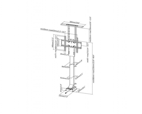MonLines MLS005B / MLS006B myTVLift hidden TV Lift technical drawing