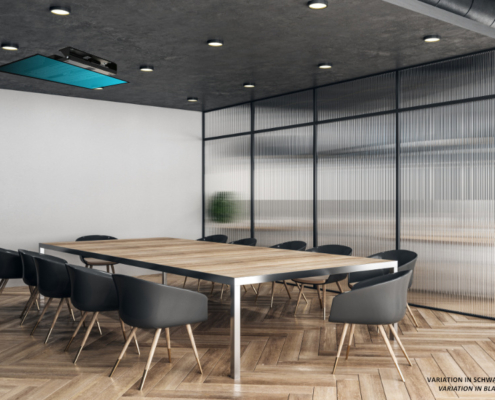 MonLines electric ceiling lift, mMotion Flip black folded in, application sample meeting room