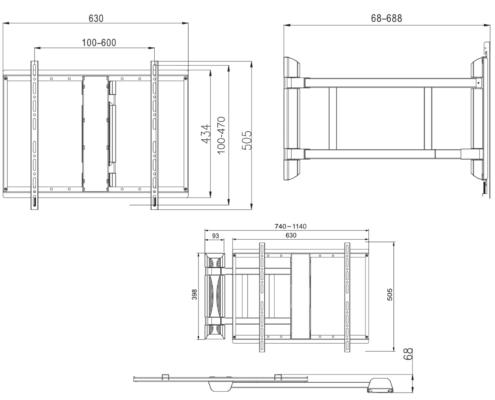 MonLines mySwing MSM05 elektrische TV Wandhalterung 50-70 Zoll, schwarz, technische Zeichnung