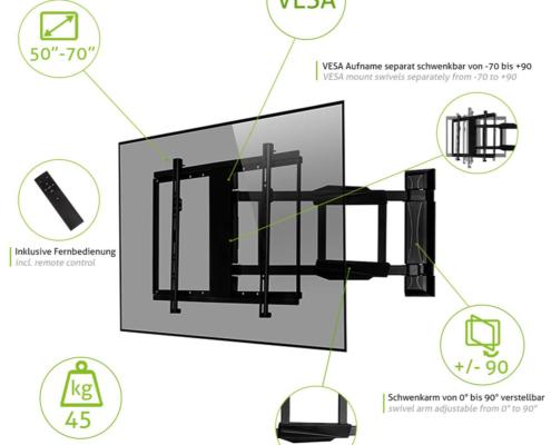 MonLines mySwing MSM05 elektrische TV Wandhalterung 50-70 Zoll, schwarz, Features