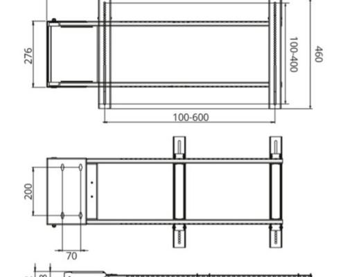 MonLines mySwing MSM06 elektrische TV Wandhalterung bis 65 Zoll, technische Zeichnung
