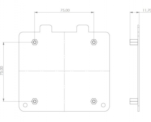 MonLines V002S VESA adapter for Samsung S24C750P / S27C750P technical drawing