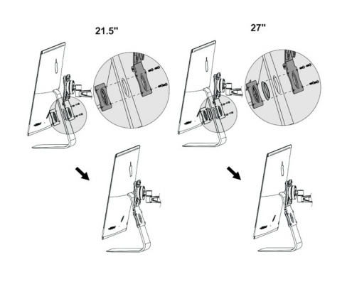 MonLines V020 VESA adapter for Apple iMac with stand technical drawing