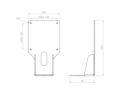 MonLines V031 VESA adapter for Samsung monitors technical drawing