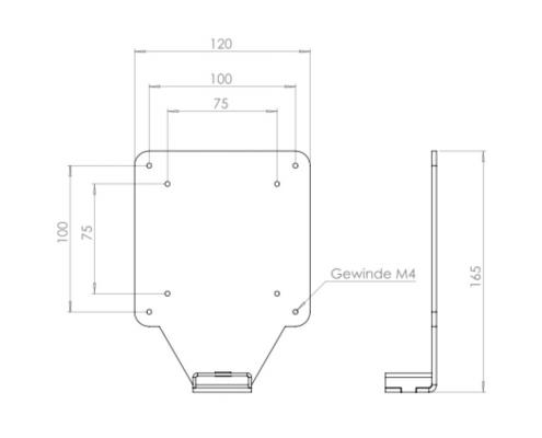MonLines V045 VESA adapter for HP 22xx 23xx 24xx 25xx 27xx technical drawing