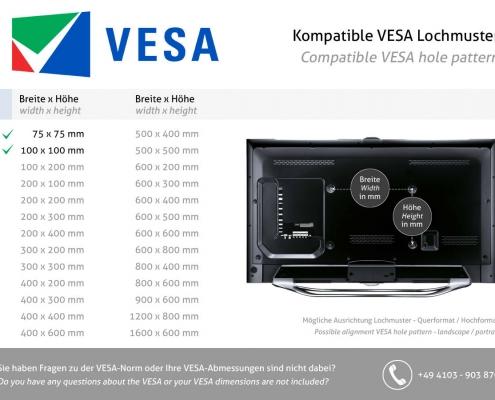 VESA standard 75 x 75 100 x 100