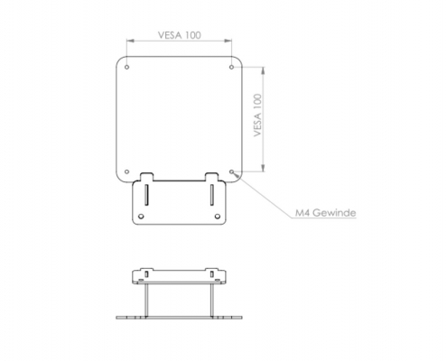 MonLines V052 VESA adapter for Samsung 32UR59C / U32R594CWU technical drawing