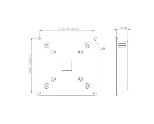 MonLines V060 VESA adapter for Samsung C24FG73 / C27FG73 technical drawing