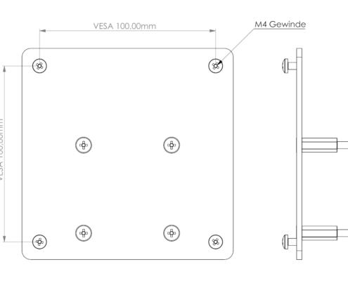 MonLines V062 VESA Adapter für Samsung LC27FG70FQ, 27 Zoll Maße