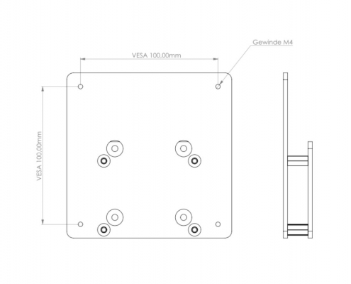 MonLines V062 VESA adapter for Samsung LC27FG70FQ technical drawing