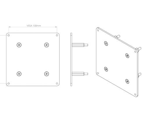 MonLines V066 VESA adapter for Samsung LC27HG70 technical drawing